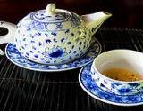 photo of a beautiful tea set serving fennel tea