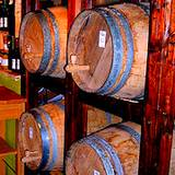 A photo of barrels formenting apple cider vinegar