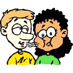 photo of a cartoon of boy talking to girl with bad breath