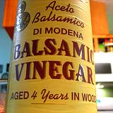 lable of balsamic vinegar aged 4 years