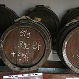 brown barrels aging balsamic vinegar