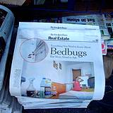 photo of a newspaper with headline of bed bug infestation