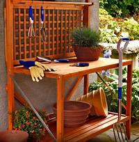 A wooden planting station for your herb garden