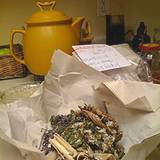photo of a decoction with teapot and mixed Chinese herbs