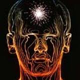 a diagram of human head with spark on forehead