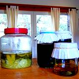 photo of 3 home canned jars of herbal vinegar
