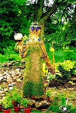 photo of a herbal scarecrow in  the center of an herb garden