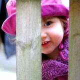 little girl in purple hat peeking through a wooden fence
