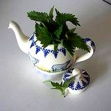photo of a teapot with fresh nettle growing out of it makes healthy medicinal tea