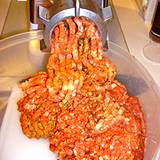 photo of ground meat going through a grinder a likely source of salmonella poisoning
